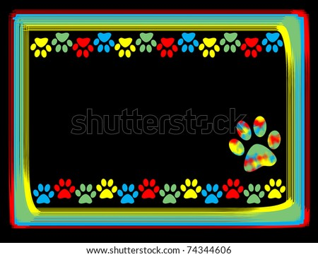 Colorful animal paws border on colored frame,vector illustration - stock vector