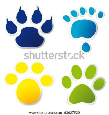 Colorful animal tracks on stickers - stock vector
