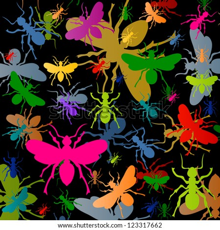 Colorful ants insects silhouettes illustration background vector - stock vector