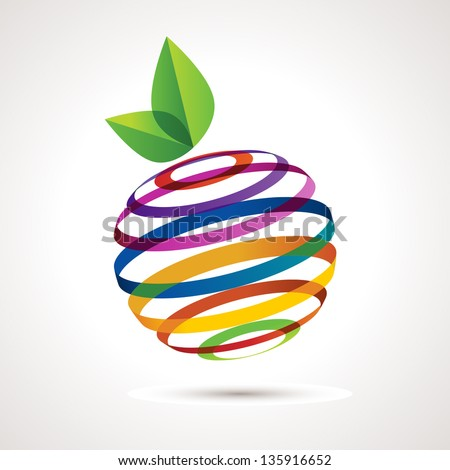 Colorful apple, vector illustration - stock vector