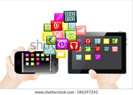colorful application icons with Hand holding the phone and tablet pc, isolated on white background - stock vector