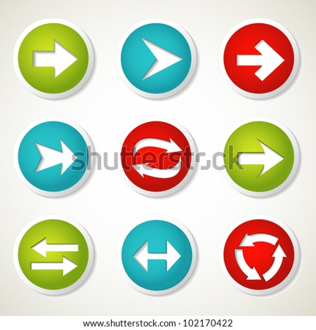 Colorful arrow buttons. Vector illustration.
