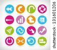 colorful arrow icon set - stock photo