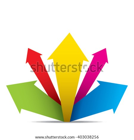 colorful arrow move up, write your text on arrow concept design vector