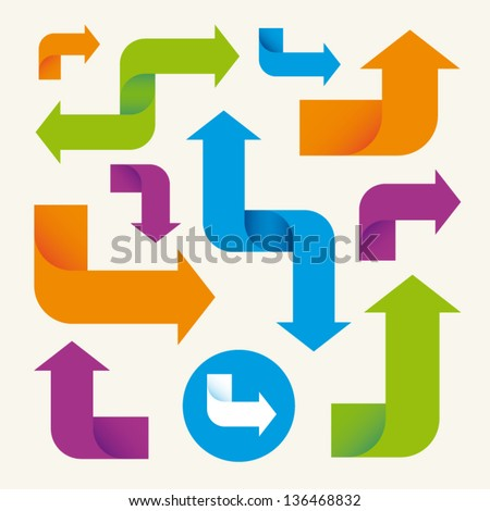 colorful arrows set vector design elements - stock vector