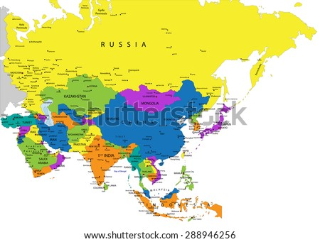 Colorful Asia political map with clearly labeled, separated layers. Vector illustration. - stock vector