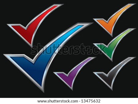 Colorful assorted checkmarks - stock vector