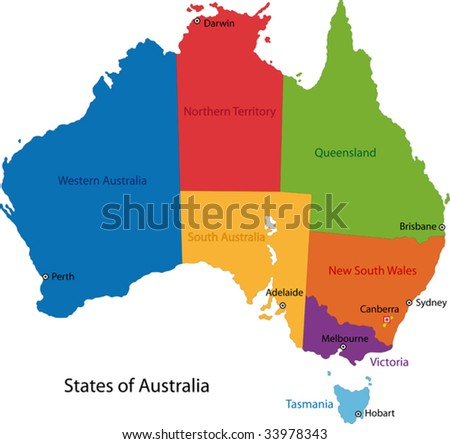 Colorful Australia map with regions and main cities - stock vector