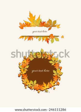 Colorful autumn leaves background with place for text  - stock vector