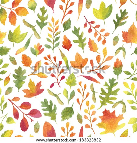 Colorful autumn leaves seamless pattern. Vectorized watercolor painting. - stock vector