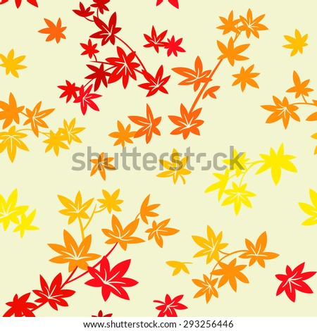 Colorful autumn maple leaves seamless pattern - stock vector