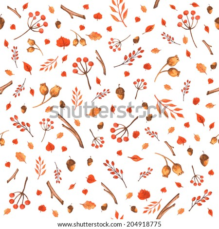 Colorful autumn seamless pattern made of hand drawn leaves, acorns and berries. Watercolor background. Vector illustration. Texture can be used for printing onto fabric and paper or scrap booking.