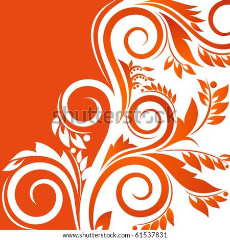 Colorful Autumnal Background with floral ornament - stock vector