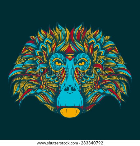 Colorful baboon monkey face doodle - stock vector