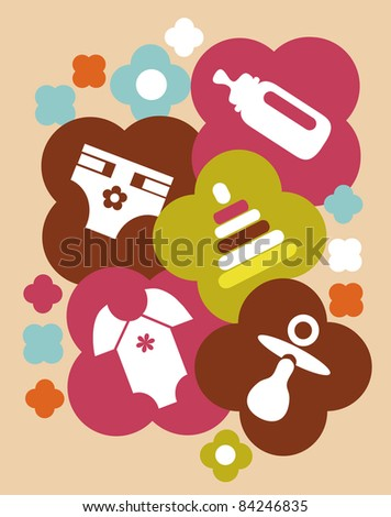 colorful baby accessories, baby card template - stock vector