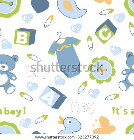 Colorful baby boy seamless pattern. vector illustration - stock vector