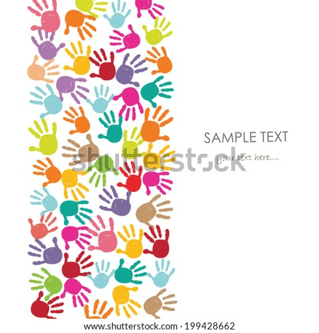 Colorful baby handprint kids greeting card vector