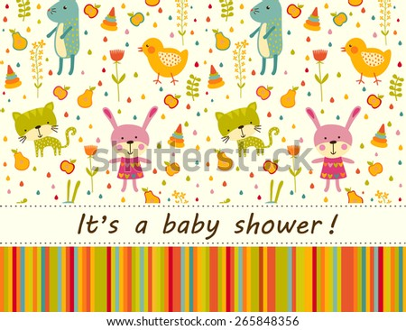 Colorful Baby shower background with cat, chicken and rabbit - stock vector