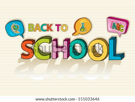 Colorful back to school text, social media speech bubbles education icons inside, cartoon illustration. Vector file layered for easy editing. - stock vector