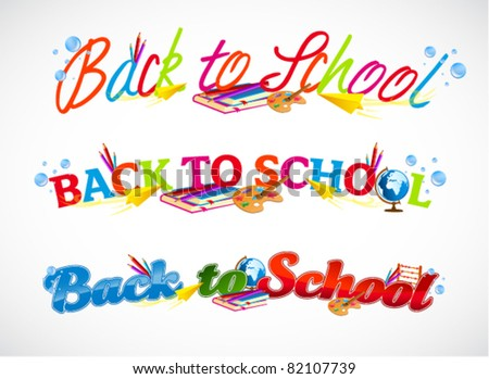 Colorful back to school typography headers - stock vector