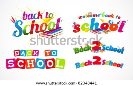 Colorful back to school typography headers 3 - stock vector
