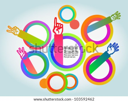 Colorful background circles with hands