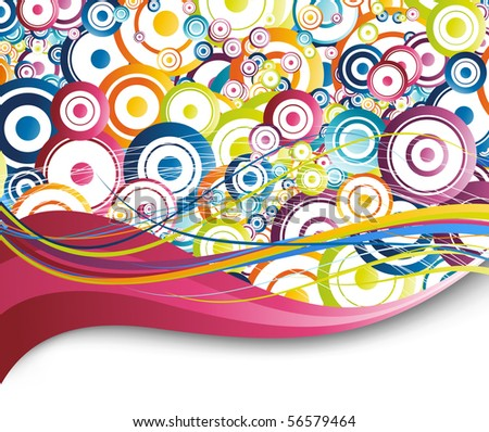Colorful background - rainbow circles. Vector illustration