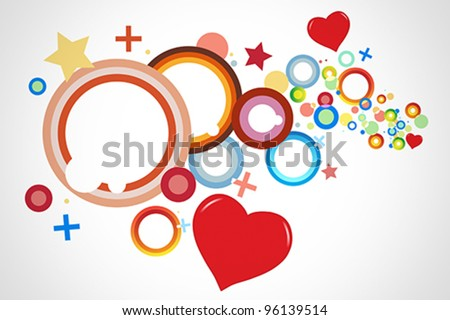 Colorful background vector with predominant shapes like hearts, circles, crosses and rings. - stock vector
