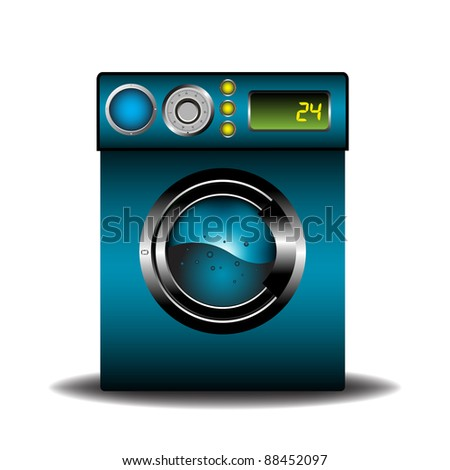 Colorful background with an isolated blue modern washing machine