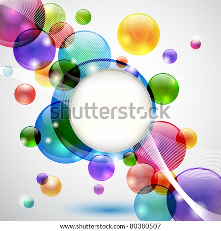 Colorful background with bubbles, lights, waves and copy space - stock vector