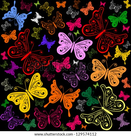 Colorful background with butterfly. Seamless pattern. Vector illustration.
