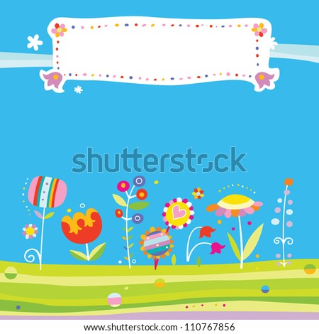 Colorful background with cute flowers and fresh colors. Includes space for a title. - stock vector