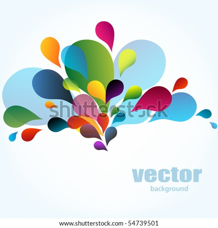 Colorful background with drops, vector - stock vector