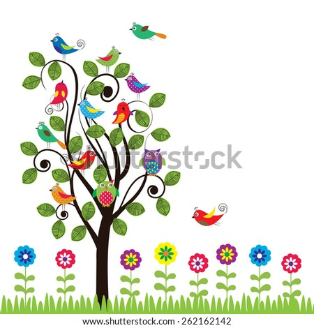 Colorful background with fanny birds and trees - stock vector