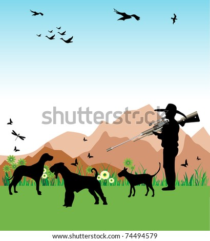 Colorful background with hunter and his dogs hunting wild birds - stock vector