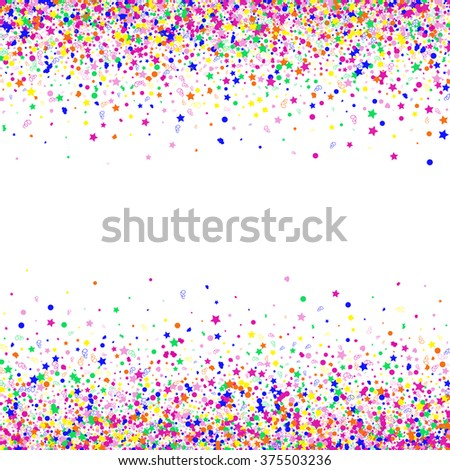Colorful background with many falling confetti. Vector illustration