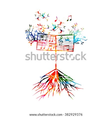 Colorful background with music stand - stock vector