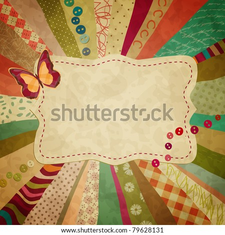 colorful background with pieces of cloth and a butterfly for your photos - stock vector