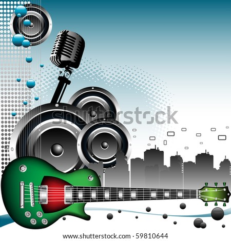 Colorful background with retro microphone shape, loudspeakers, electric guitar and city skyscrapers. Music theme