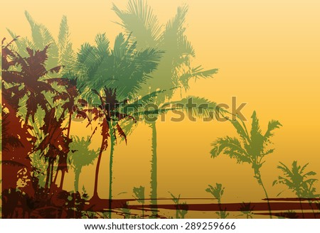 Colorful background with silhouette of palm trees on the beach. Tropical seasonal background for topics of travel, vacation and summer. - stock vector