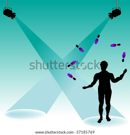 Colorful background with stage lights, and male silhouette juggling with bowling skittles - stock vector