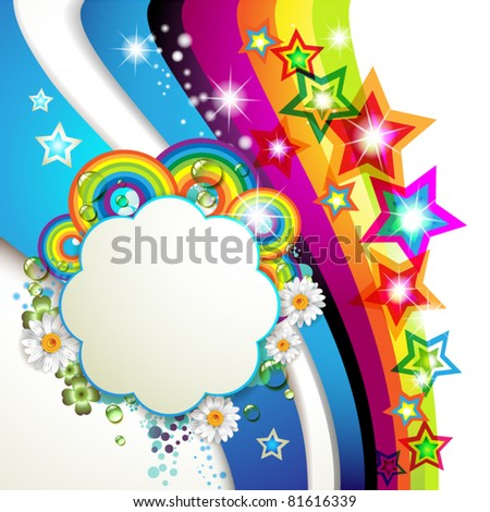 Colorful background with stars and drops