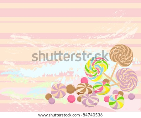 colorful background with sweet candies - stock vector