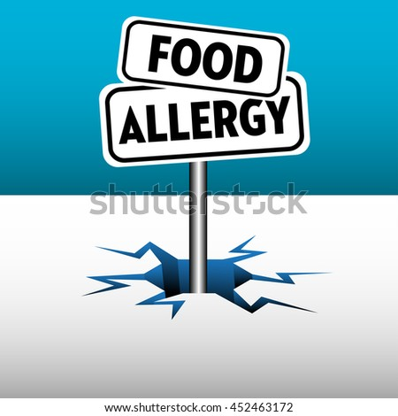 Colorful background with two plates with the text food allergy - stock vector