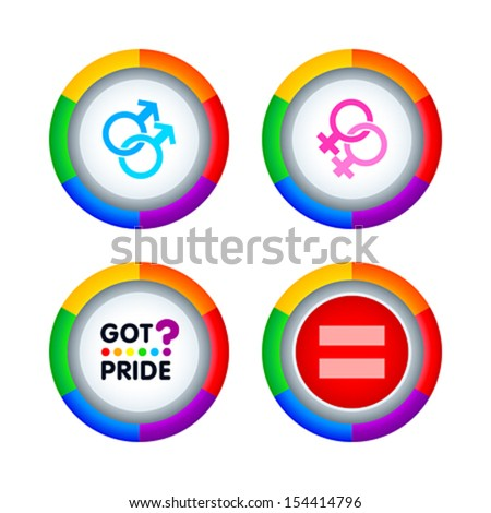 Colorful badges for gay pride events isolated - stock vector
