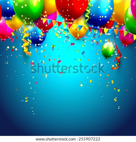 Colorful balloons and confetti - vector background  - stock vector