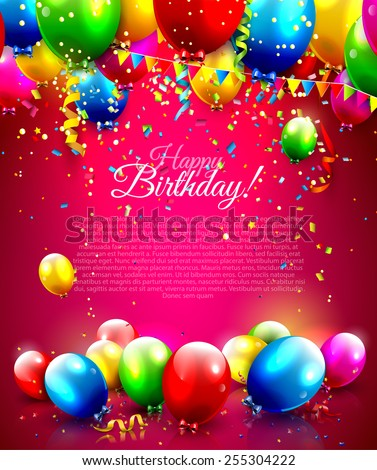Colorful balloons and confetti - vector background with place for your text - stock vector