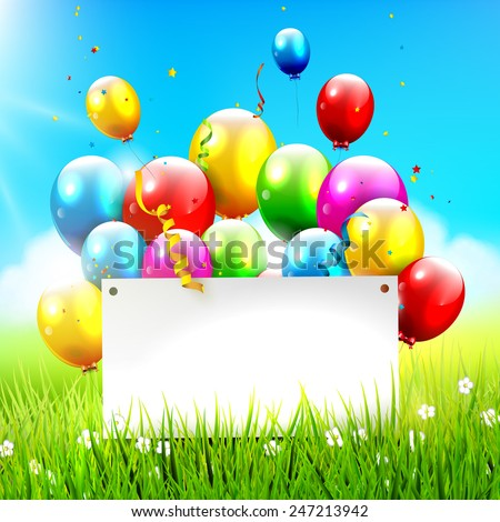 Colorful balloons and empty paper at sunny landscape - stock vector
