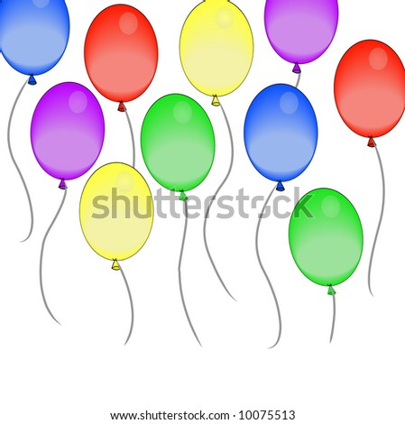 colorful balloons floating by in the air - vector - stock vector