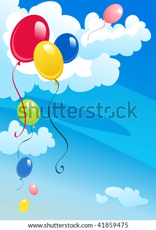 Colorful balloons in the cloudy sky - stock vector